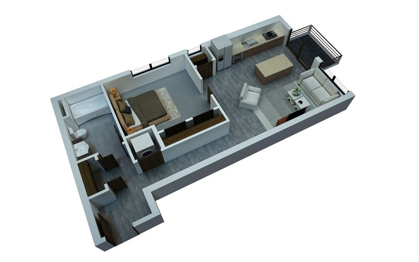 one bedroom floorplan 2