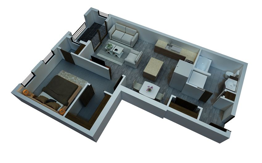 one bedroom floorplan 3