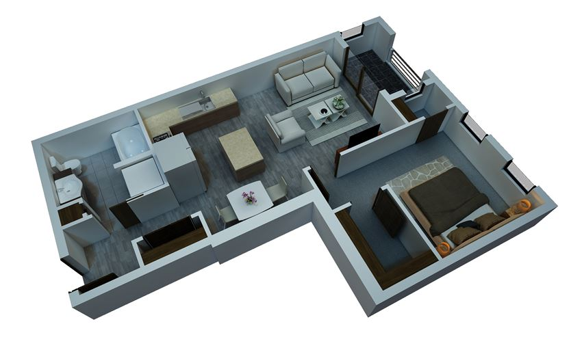 one bedroom floorplan 4
