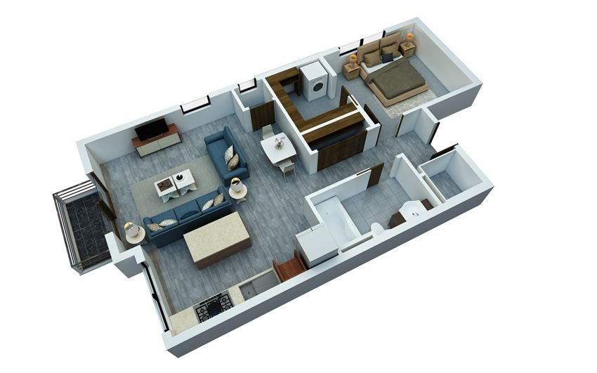 one bedroom floorplan 5
