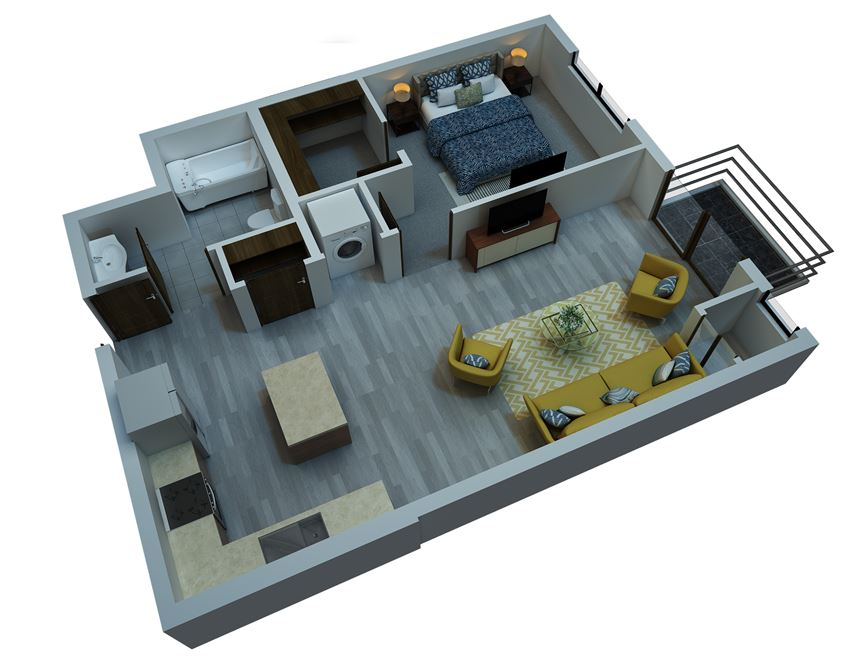 one bedroom floorplan 7