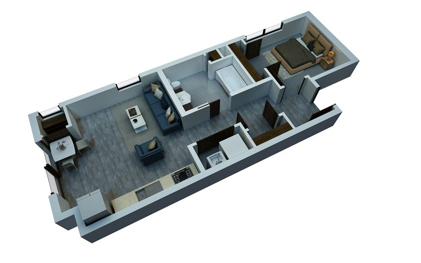 studio floorplan ADA 544 sq ft