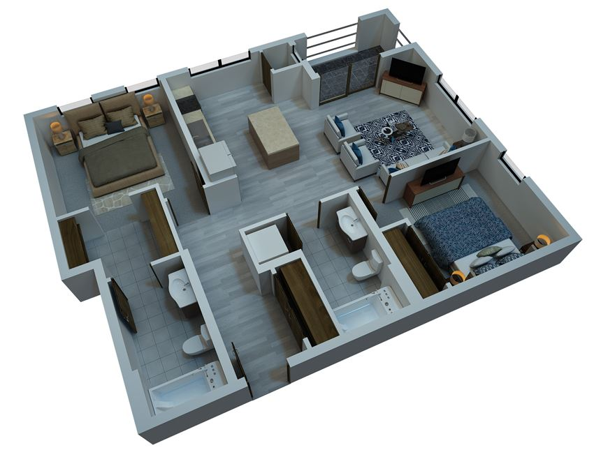 two bedroom floorplan 965 sq ft