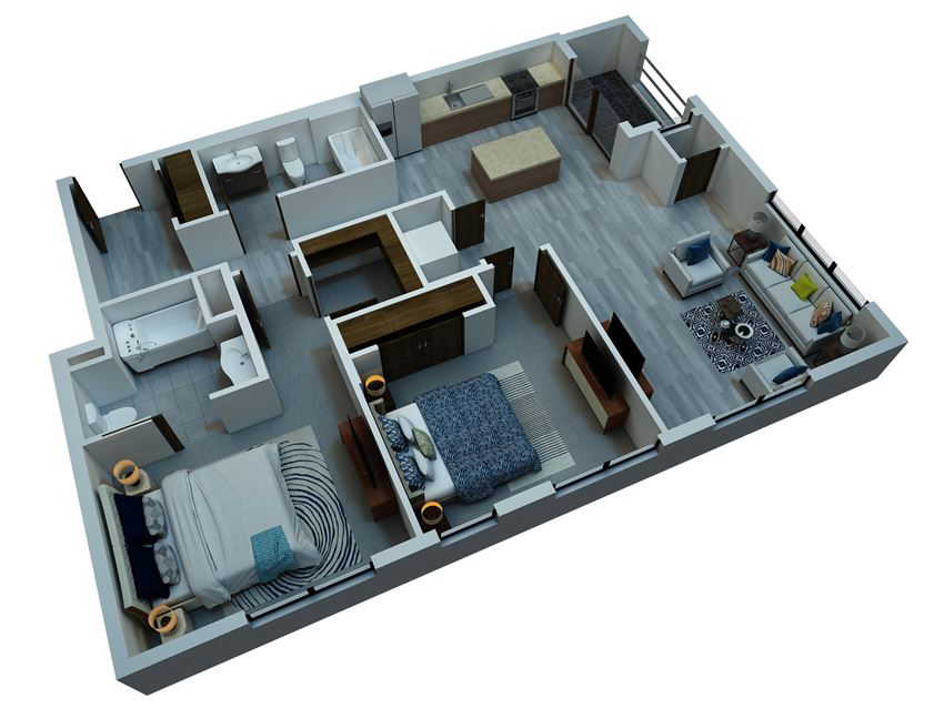 two bedroom floorplan 1129 sq ft