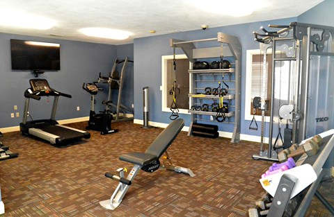 Fitness center with cardio equipment, weight machines, free weights, and television
