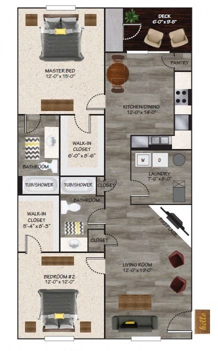Renovated 2 Bedroom Floor Plan 2