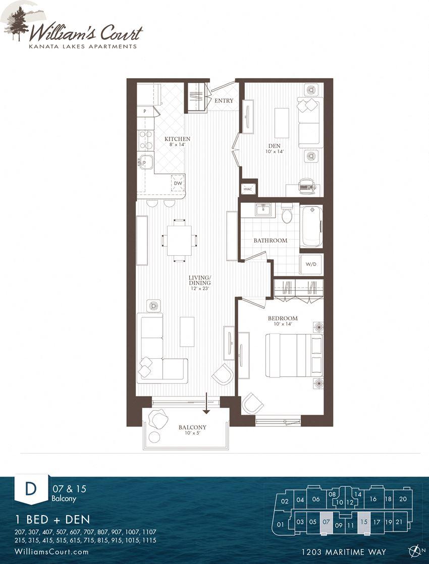 Willam's Court D - 1 Bedroom + Den