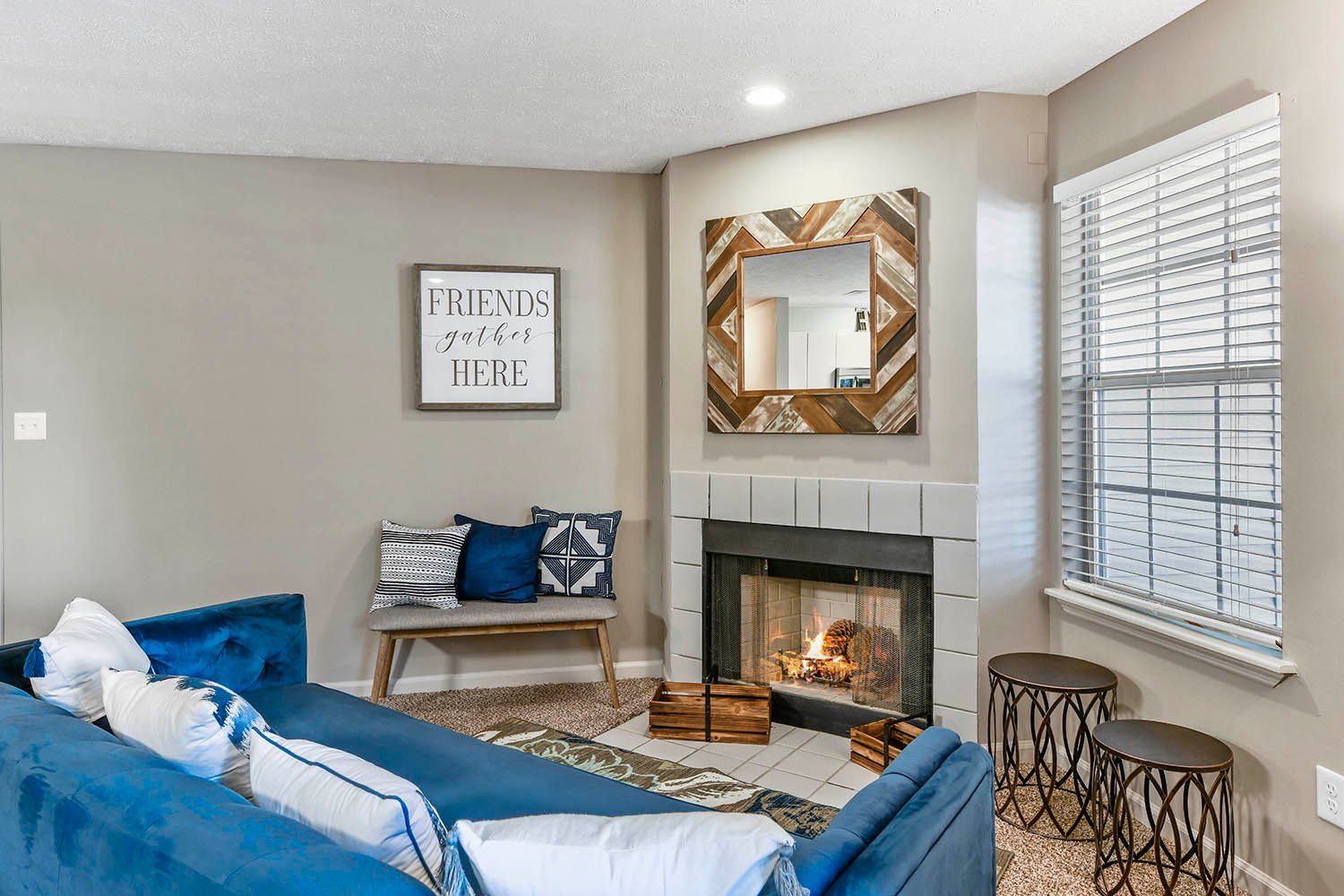 Living Room with Fireplace at Patchen Oaks Apartments, Kentucky