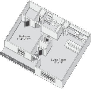 Deluxe Studio Floor Plan 2