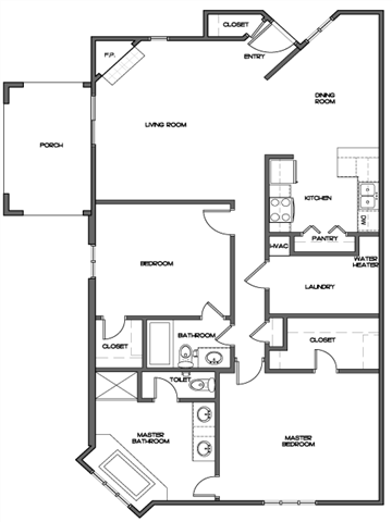 Large Two Bedroom Floor Plan 3