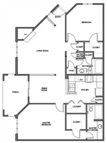Small Two Bedroom Floor Plan 2