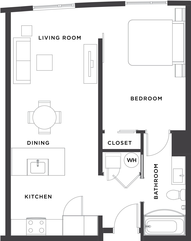 1BR/1BA Floor Plan 2