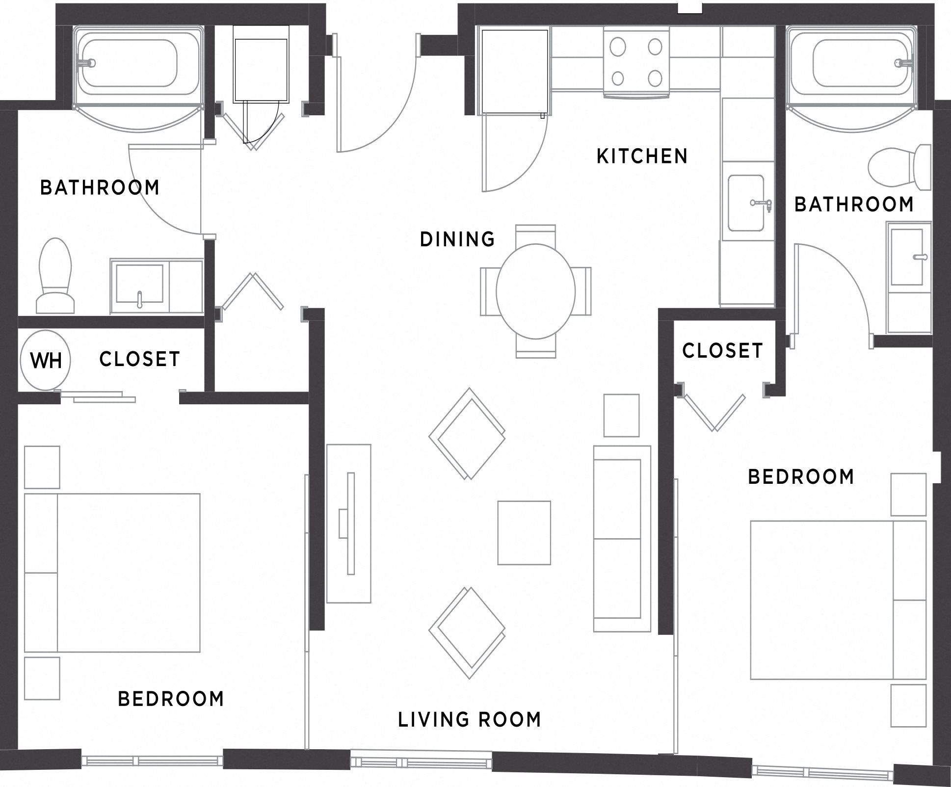 2BR/2BA Floor Plan 4