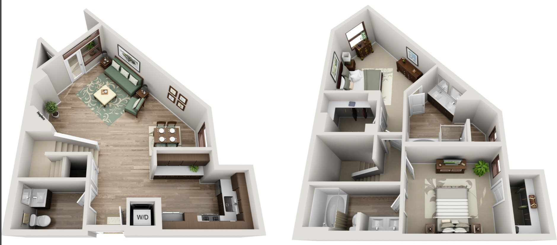 The Glendon_Los Angeles CA_Floor Plan_ATH_Two Bedroom Two and a Half Bathroom