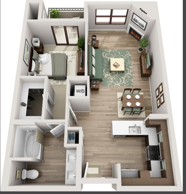 The Glendon_Los Angeles CA_Floor Plan_B1_One Bedroom One Bathroom