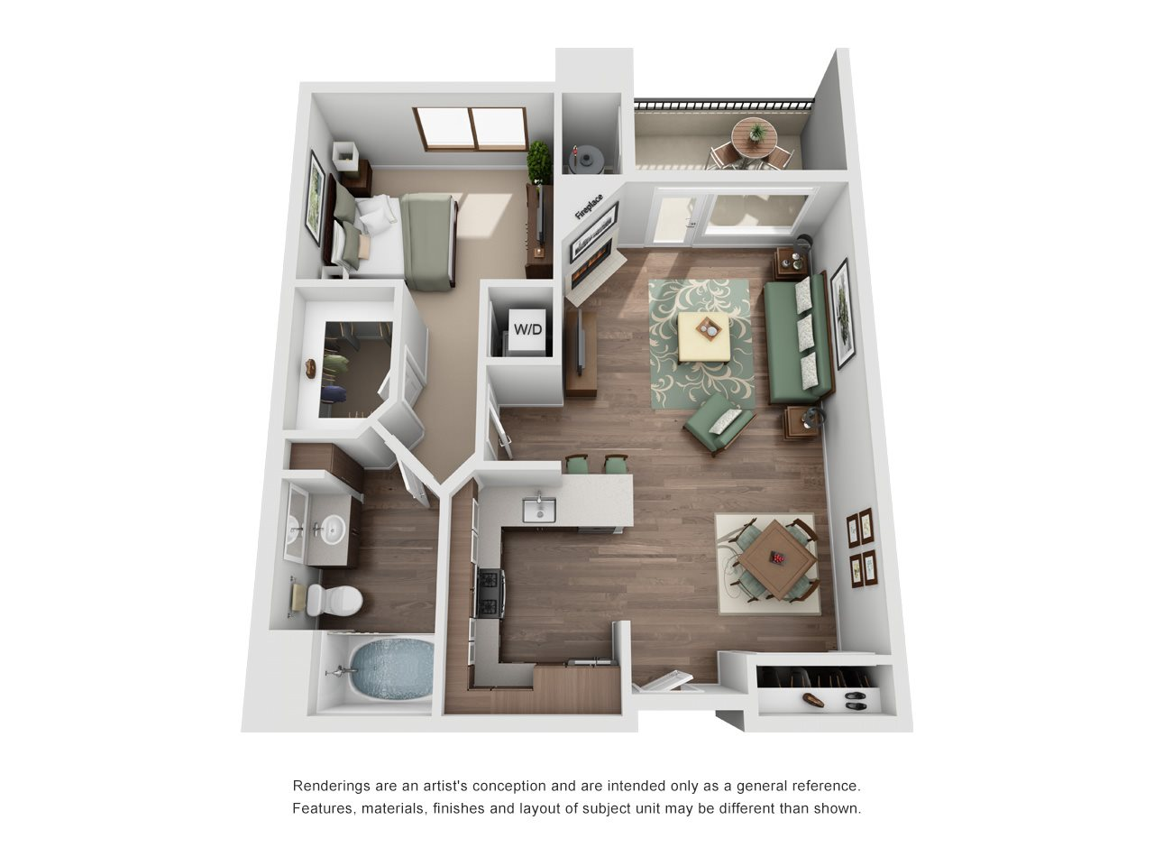 The Glendon_Los Angeles CA_Floor Plan_B_One Bedroom One Bathroom