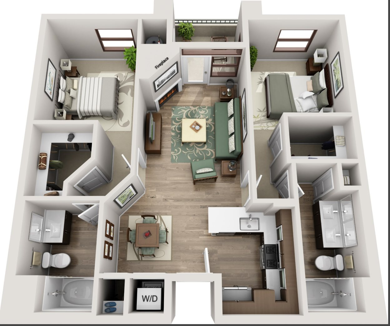 The Glendon_Los Angeles CA_Floor Plan_C2_Two Bedroom Two Bathroom