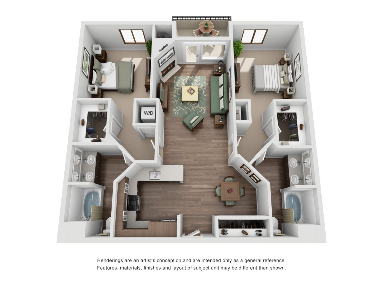 The Glendon_Los Angeles CA_Floor Plan_C_Two Bedroom Two Bathroom