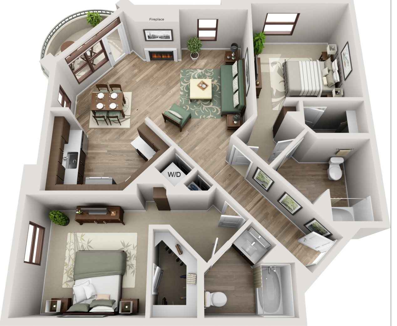 The Glendon_Los Angeles CA_Floor Plan_D_Two Bedroom Two Bathroom
