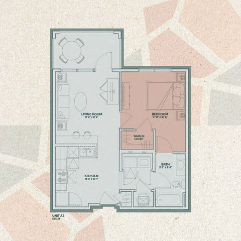 A1 - 1  Bedroom FloorPlan at Mosaic at Levis Commons, Ohio, 43551