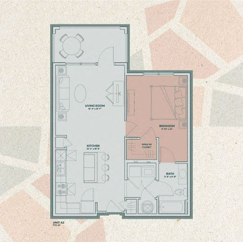 A2 - 1 Bedroom FloorPlan at Mosaic at Levis Commons, Perrysburg, OH, 43551