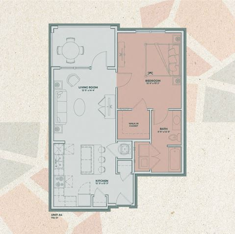 A4 - 1 Bedroom FloorPlan at Mosaic at Levis Commons, Ohio