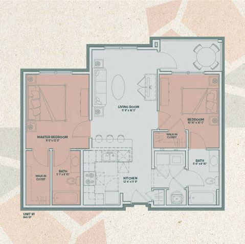 B1 - 2 Bedroom FloorPlan at Mosaic at Levis Commons, Ohio, 43551