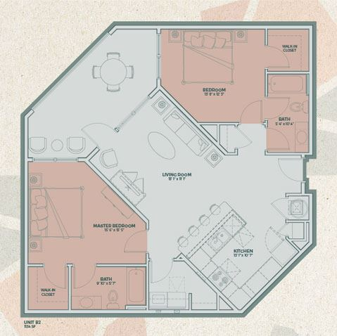B2 - 2 Bedroom FloorPlan at Mosaic at Levis Commons, Perrysburg, OH, 43551