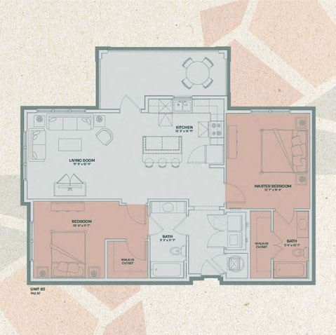 B3 - 2 Bedroom FloorPlan at Mosaic at Levis Commons, Perrysburg, OH