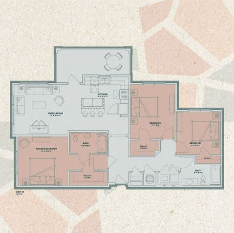 C1 - 3 Bedroom FloorPlan at Mosaic at Levis Commons, Perrysburg, Ohio
