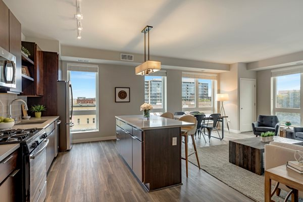 Solid wood islands with storage at The M on Hennepin, Minnesota, 55414
