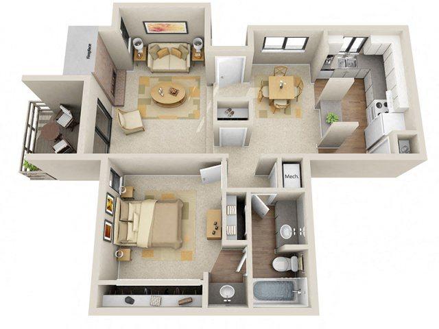 1 Bed / 1 Bath Floor Plan 1