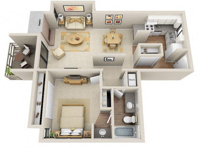 1 Bed / 1 Bath Floor Plan 2