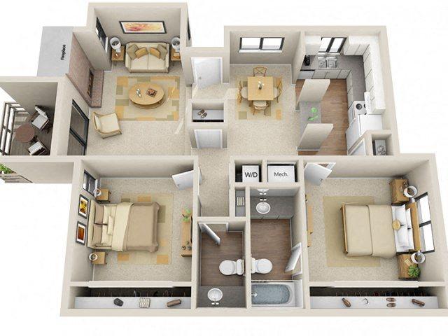 2 Bed / 1.5 Bath Floor Plan 3