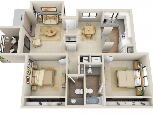 2 Bed / 1.5 Bath Floor Plan 4