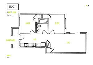 1122U Apartments 2 Bedroom Floorplan