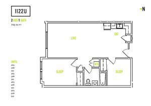 2 Bedroom Floorplan at 1122U Apartments in Berkeley