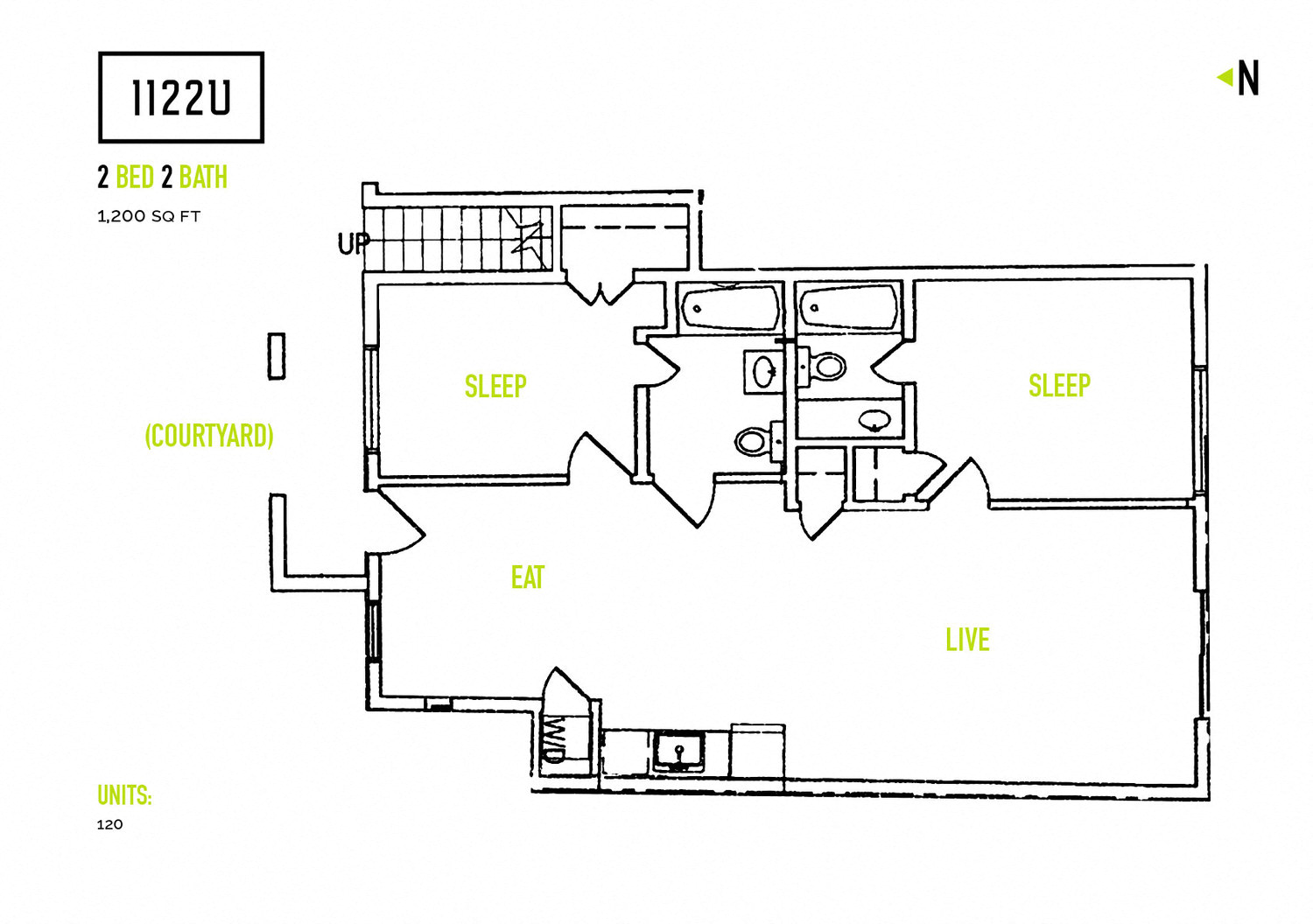 2 bedroom layout at 1122U Apartments