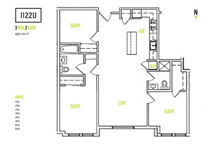 Floorplan at 1122U Apartments, California