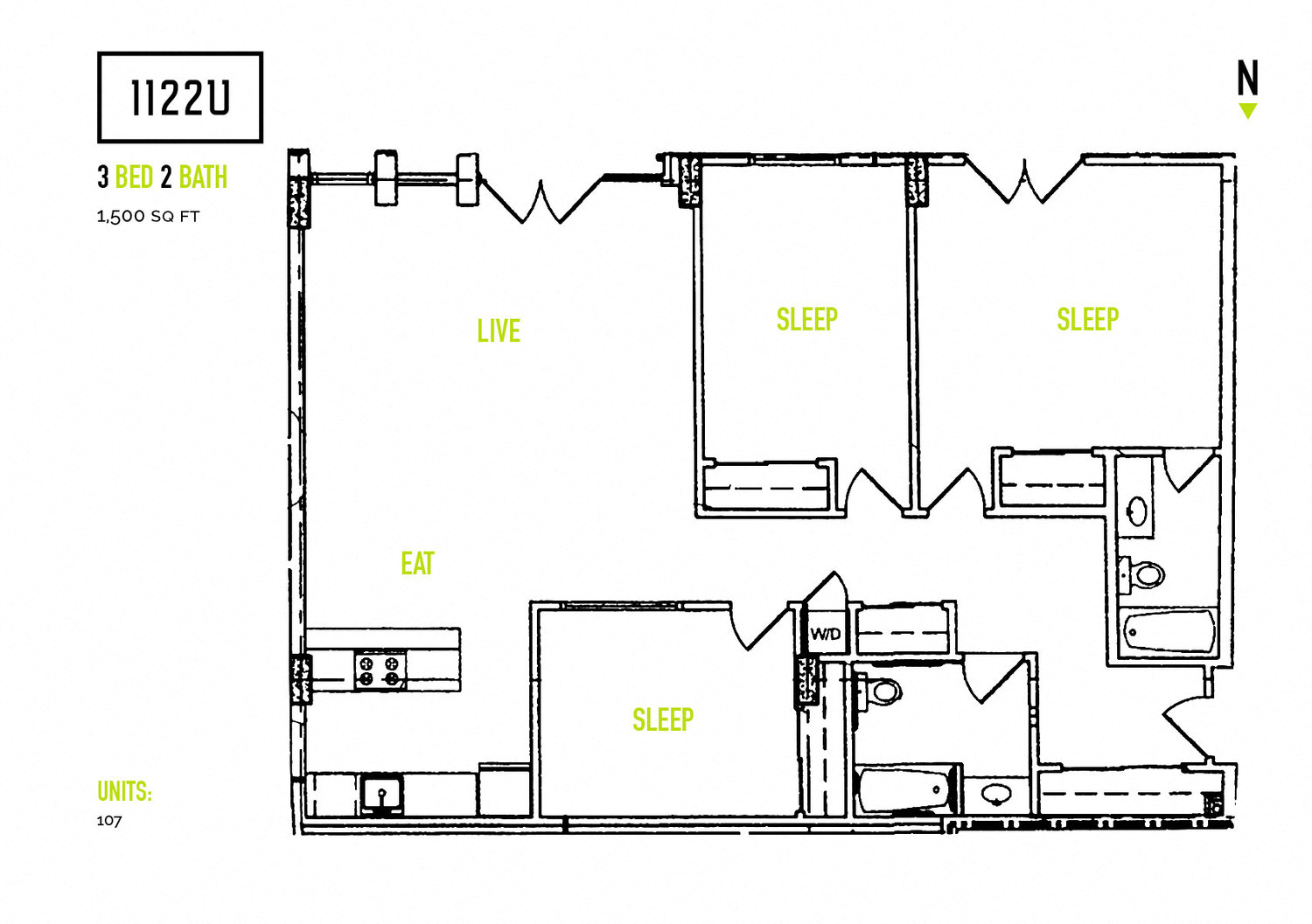 1122 U apartments, 3 bedroom floorplan  in Berkeley