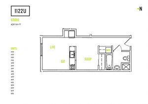 Studio Floorplan at 1122U Apartments, Berkeley, CA