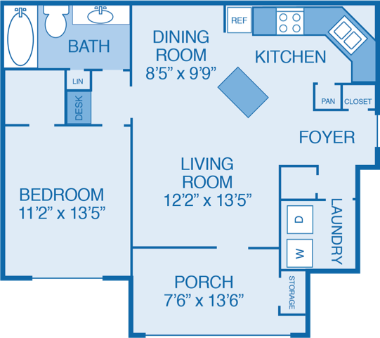Oakwood Floor Plan at Walden Legacy Apartments, Tennessee, 37931