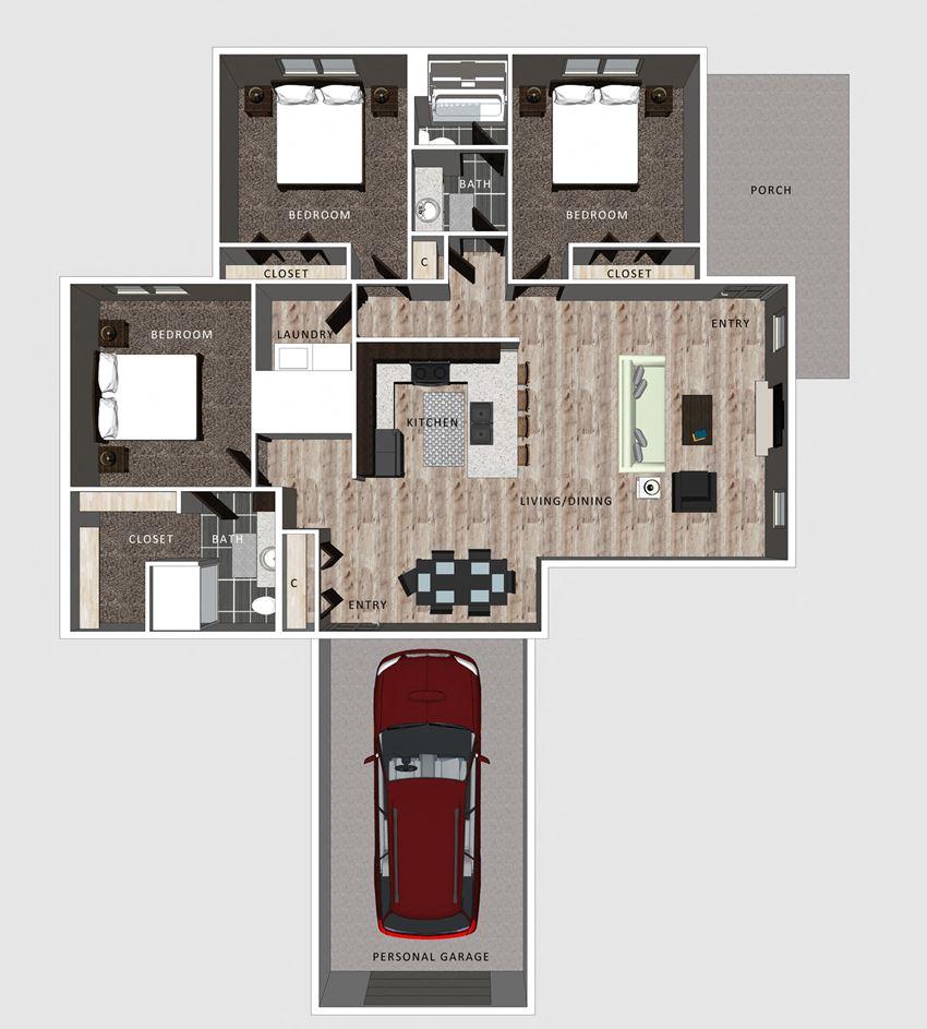 Harper floor plan at the Villas at Falling Waters