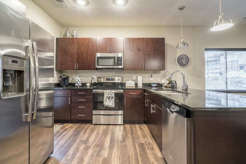 Interiors-1 bedroom apartment kitchen in traditional design scheme with dark cabinetry and stainless steel appliances