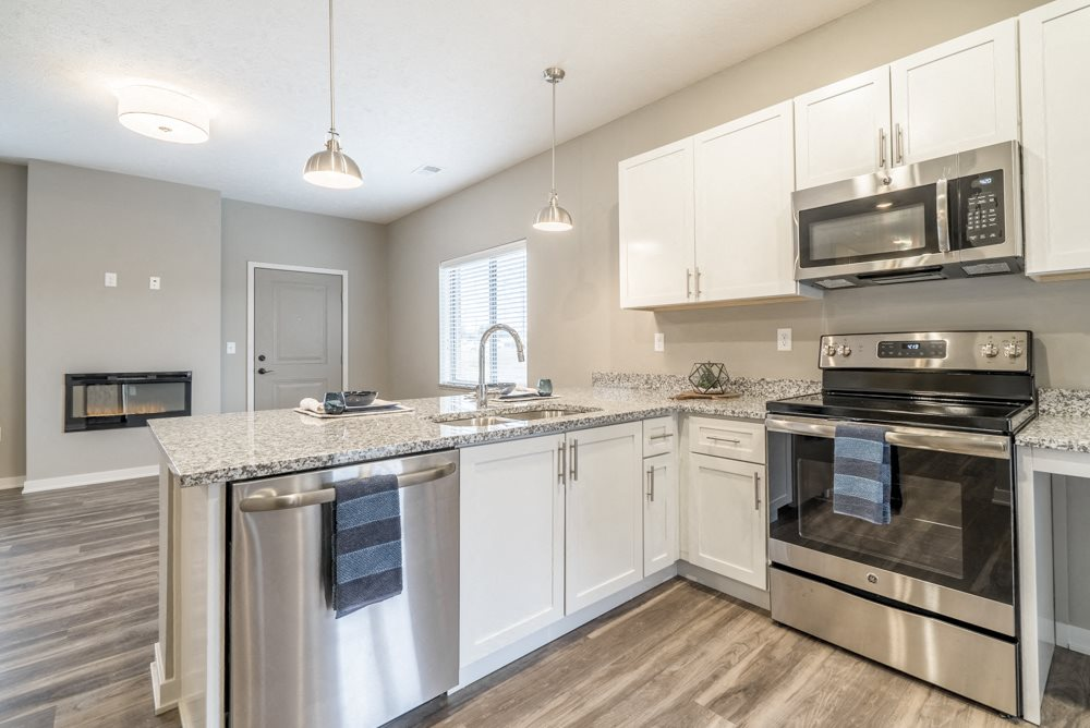 Interiors-2 bedroom apartment kitchen in white design scheme and stainless steel appliances