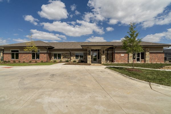 Clubhouse with gym and resident lounges at The Villas at Falling Waters townhomes for rent in West Omaha