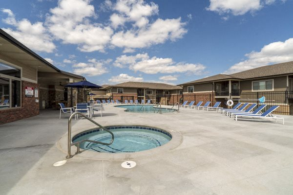 Hot tub at The Villas at Falling Waters luxury townhomes in West Omaha NE