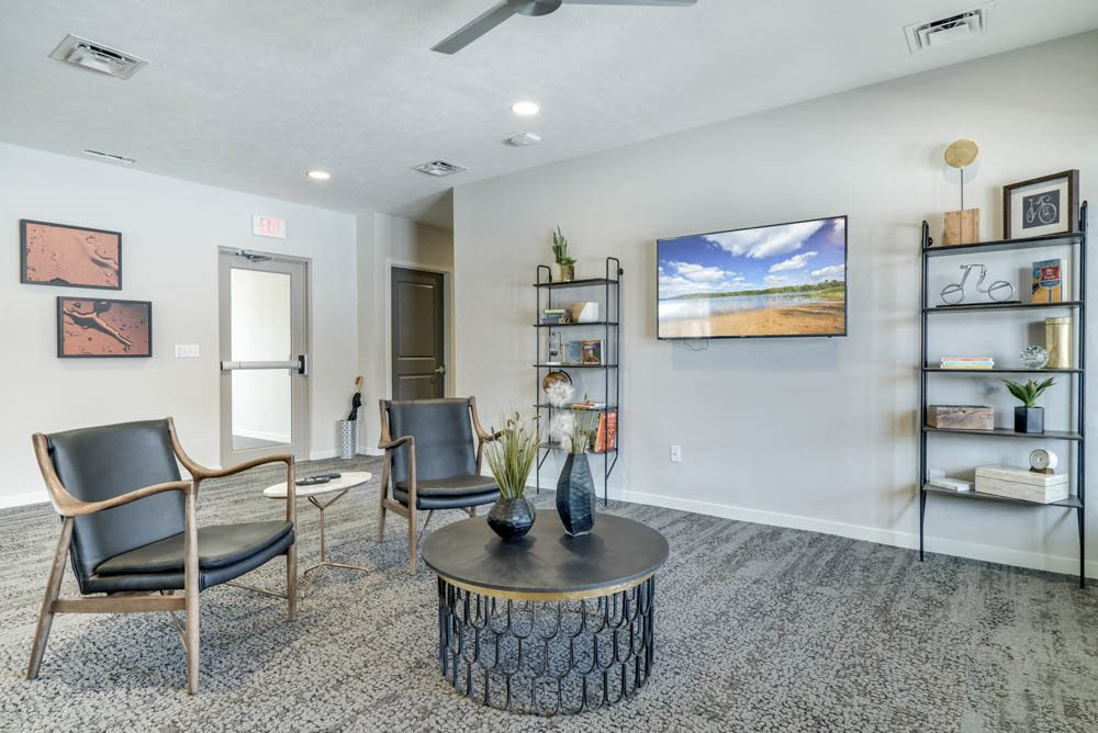 Leasing lounge at The Villas at Falling Waters townhomes for rent in West Omaha