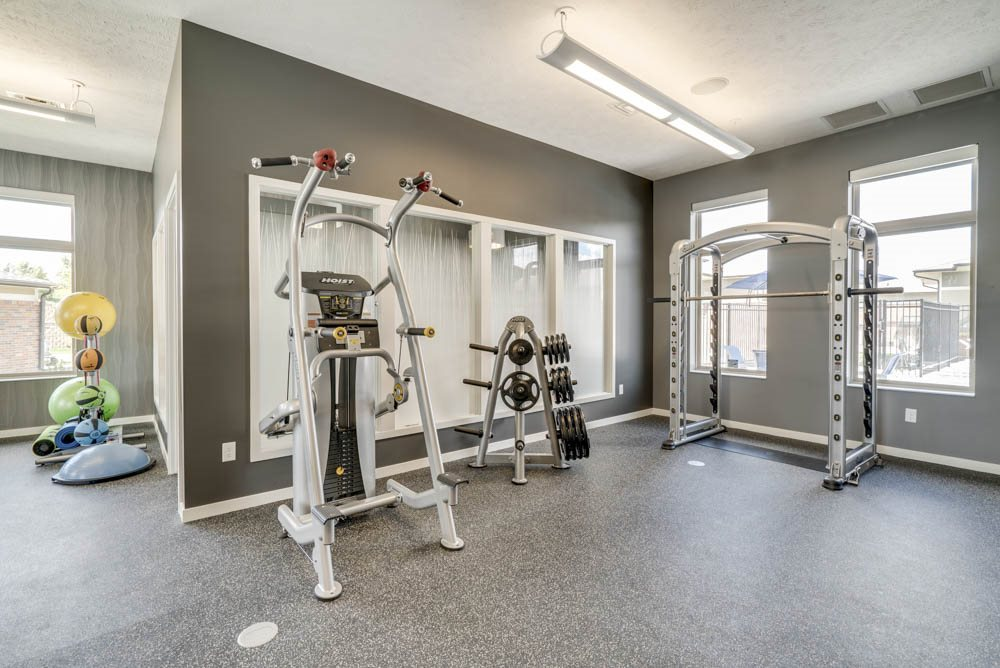 Fitness center equipment at The Villas at Falling Waters in west Omaha NE