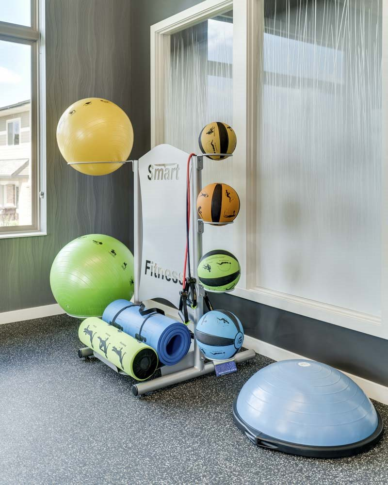 Medicine balls and yoga mats at The Villas at Falling Waters townhomes in West Omaha